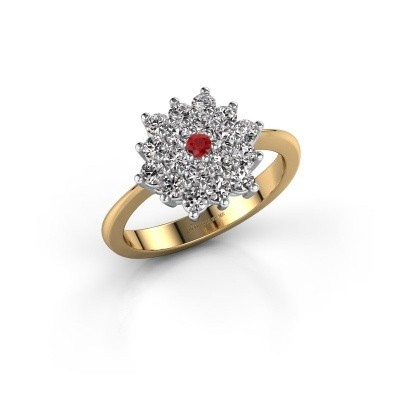 Engagement ring Vickey 2 585 gold ruby 2 mm