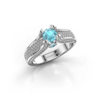 Verlovingsring Jeanne 2 950 platina blauw topaas 5 mm