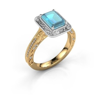 Verlovings ring Alice EME 585 goud blauw topaas 7x5 mm