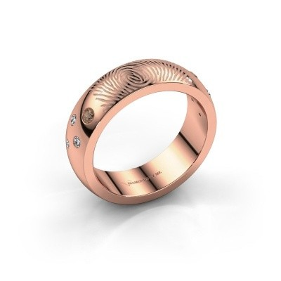 Foto van Ring Minke 375 rosé goud bruine diamant 0.135 crt