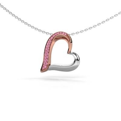 Halsketting Heart 1 585 rosé goud roze saffier 1.2 mm