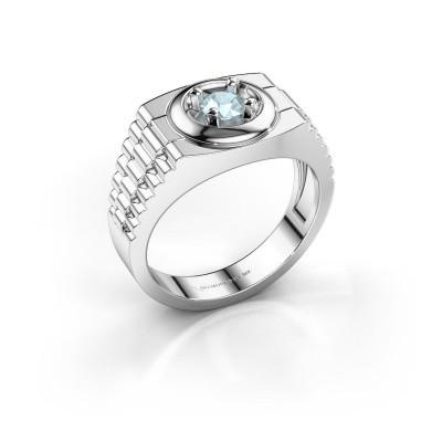 Foto van Rolex stijl ring Edward 925 zilver aquamarijn 4.7 mm