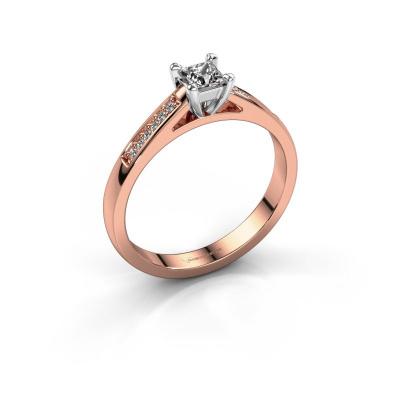 Engagement ring Nynke SQR 585 rose gold diamond 0.23 crt