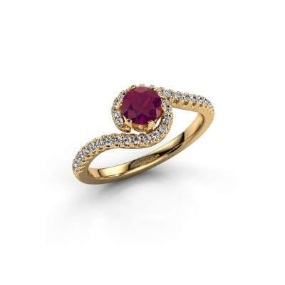 Engagement ring Elli 375 gold rhodolite 5 mm