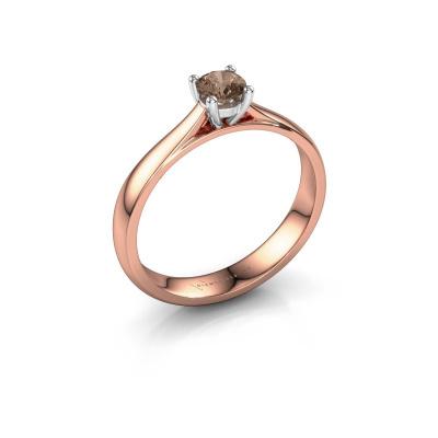 Foto van Verlovingsring Sam 585 rosé goud bruine diamant 0.30 crt