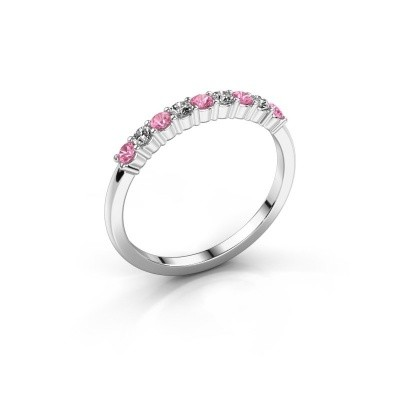 Foto van Verlovingsring Yasmin 9 585 witgoud roze saffier 2.4 mm