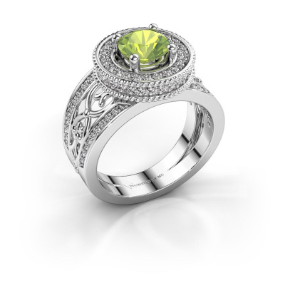 Ring Joy 585 witgoud peridoot 6.5 mm