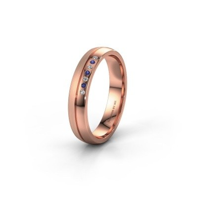 Wedding ring WH0216L24APM 585 rose gold sapphire ±4x1.7 mm