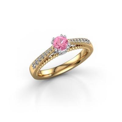 Foto van Verlovingsring Rozella 585 goud roze saffier 4.2 mm