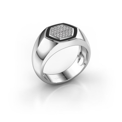 Heren ring Kris 950 platina zirkonia 1.1 mm