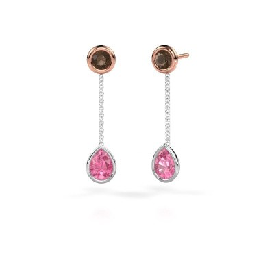 Drop earrings Ladawn 585 white gold pink sapphire 7x5 mm