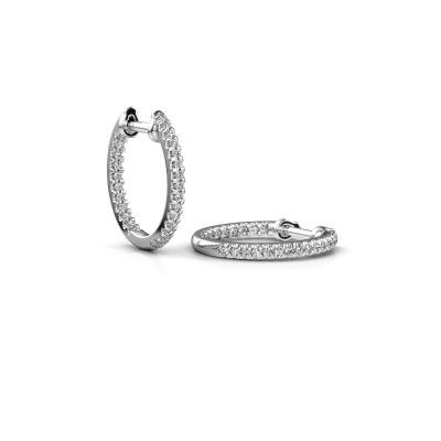 Foto van Creolen Jackie 12.5 mm B 585 witgoud diamant 0.27 crt