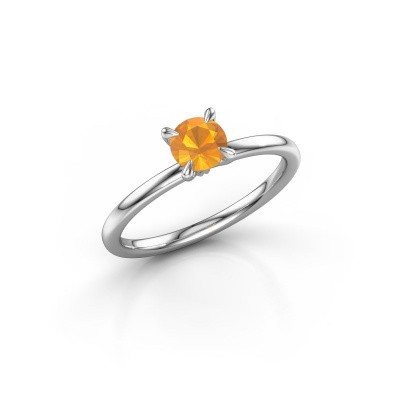 Photo de Bague de fiançailles Crystal RND 1 585 or blanc citrine 5 mm