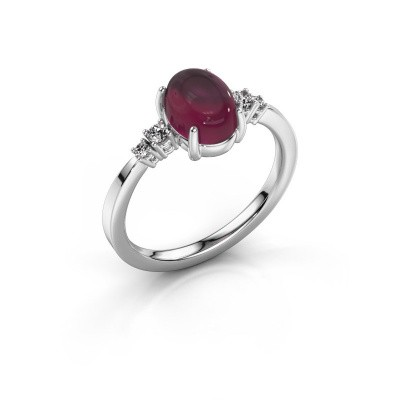 Ring Jelke 950 platinum rhodolite 8x6 mm