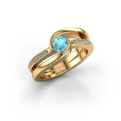 Foto van Ring Xenia 2 585 goud blauw topaas 5 mm