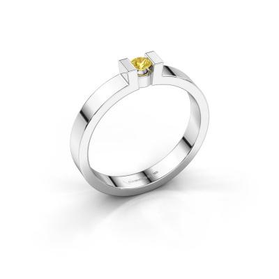 Verlovingsring Lieve 1 925 zilver gele saffier 3 mm