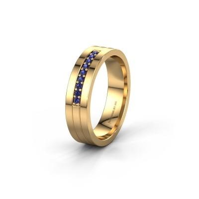 Trouwring WH0413L15AP 585 goud saffier ±5x1.7 mm