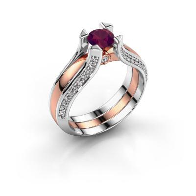 Engagement ring Nadine 585 rose gold rhodolite 5 mm
