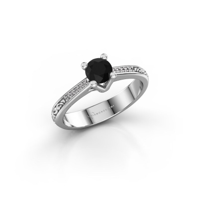 Picture of Engagement ring Mei 925 silver black diamond 0.529 crt