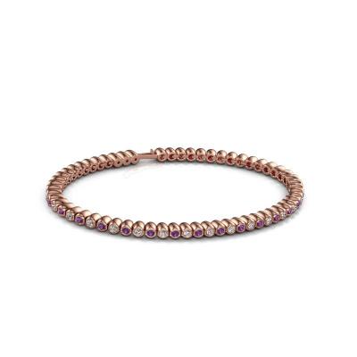 Tennisarmband Bianca 2 mm 375 rosé goud amethist 2 mm