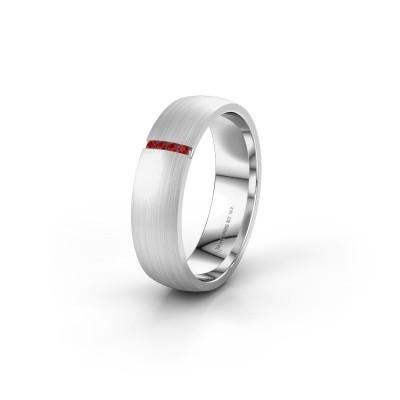 Wedding ring WH0154L25XM 925 silver ruby ±5x1.4 mm