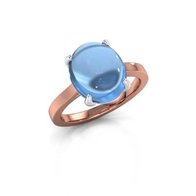 Foto van Ring Mallie 1 585 rosé goud blauw topaas 12x10 mm