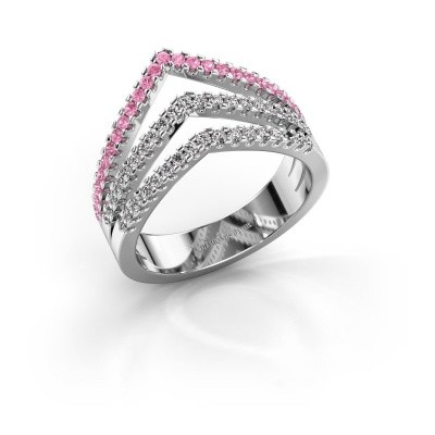 Ring Kendra 585 white gold pink sapphire 1.2 mm