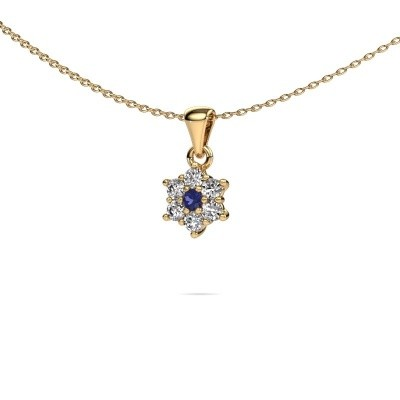 Ketting Chantal 375 goud saffier 2.4 mm