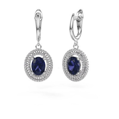 Picture of Drop earrings Karren 585 white gold sapphire 8x6 mm