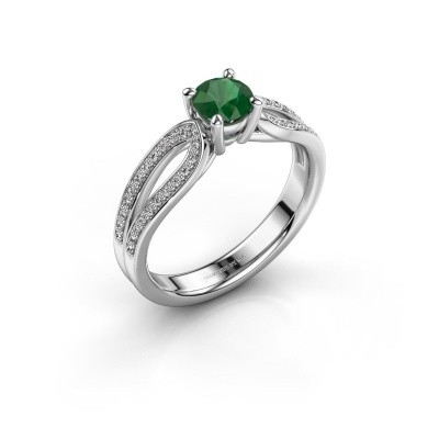 Verlobungsring Antonia 2 925 Silber Smaragd 5 mm