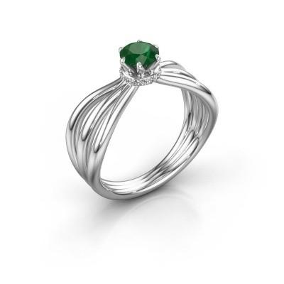 Verlovingsring Kimi 925 zilver smaragd 5 mm