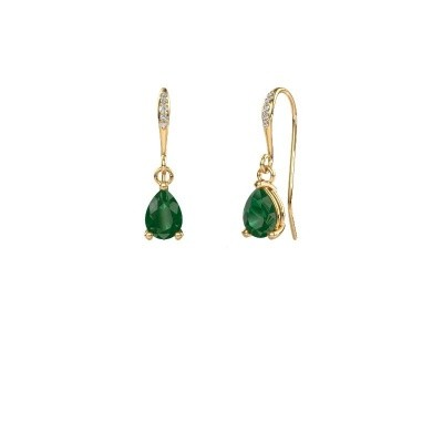 Picture of Drop earrings Laurie 2 585 gold emerald 7x5 mm