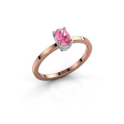 Foto van Ring Lynelle 1 585 rosé goud roze saffier 6x4 mm