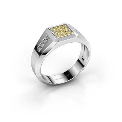 Foto van Pinkring Bas 925 zilver gele saffier 1.7 mm