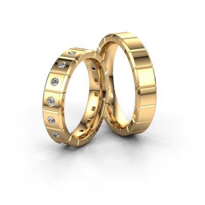 Foto van Huwelijksringen set WH2055LM15DP ±5x2.4 mm 14 karaat goud diamant 0.03 crt