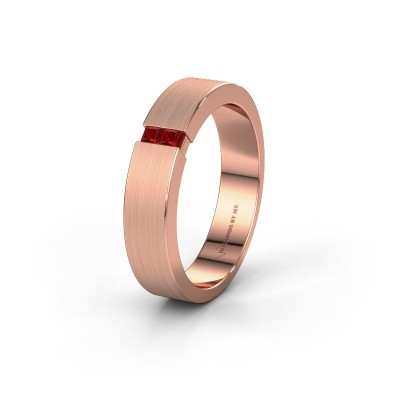 Wedding ring WH2136M15E 375 rose gold ruby ±5x2.4 mm