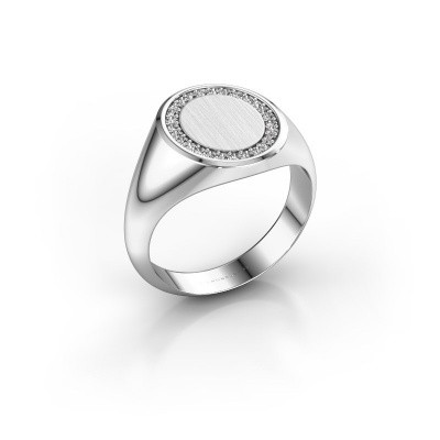 Men's ring Floris Oval 3 375 white gold lab grown diamond 0.203 crt