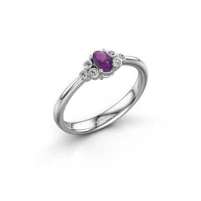 Picture of Engagement ring Lucy 1 925 silver amethyst 6x4 mm