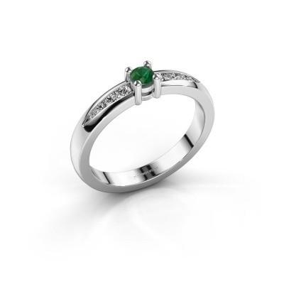 Foto van Verlovingsring Zohra 925 zilver smaragd 3 mm