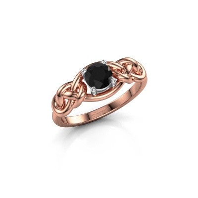 Foto van Ring Zoe 585 rosé goud zwarte diamant 0.60 crt