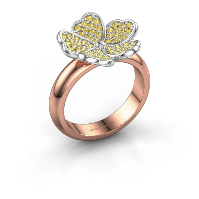 Ring Daphne 585 rose gold yellow sapphire 1.2 mm