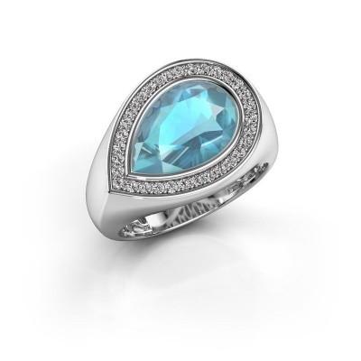 Foto van Ring Latashia 925 zilver blauw topaas 12x8 mm