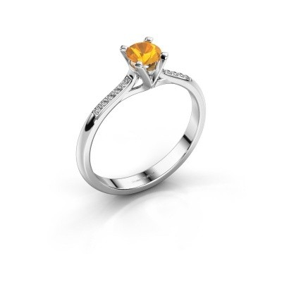 Photo de Bague de fiançailles Isa 2 585 or blanc citrine 4.2 mm