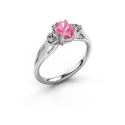 Foto van Verlovingsring Amie OVL 585 witgoud roze saffier 7x5 mm