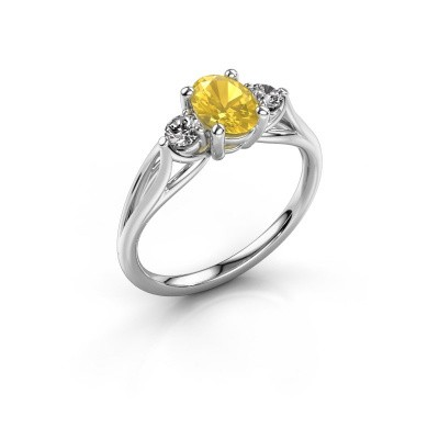 Engagement ring Amie OVL 585 white gold yellow sapphire 7x5 mm