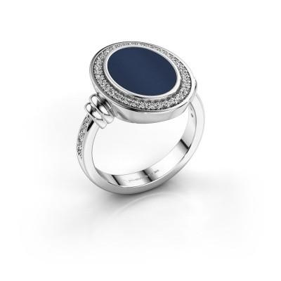 Foto van Heren ring Servie 925 zilver donker blauw lagensteen 14x10 mm