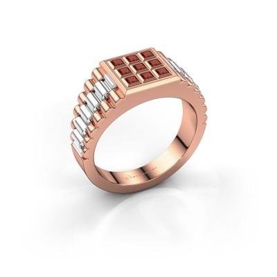 Foto van Heren ring Chavez 585 rosé goud granaat 2 mm