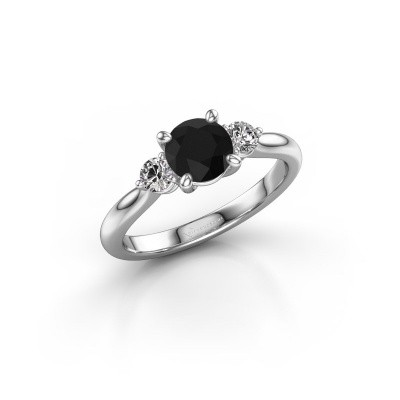Picture of Engagement ring Lieselot RND 585 white gold black diamond 1.40 crt