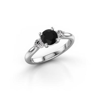 Foto van Verlovingsring Lieselot RND 585 witgoud zwarte diamant 1.40 crt