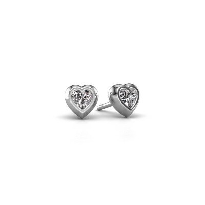 Photo de Clous d'oreilles Charlotte 375 or blanc diamant synthétique 0.50 crt